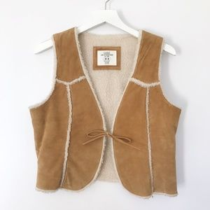 L.O.G.G. H&M Suede Vest with faux shearling lining
